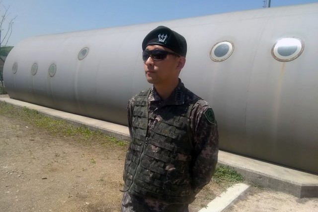 CH (CPT) Yohann Lee during a lunch break at the ROK Army Special Warfare Center while they were being interviewed by the 8th Army PAO for Armed Forces Network - Korea.