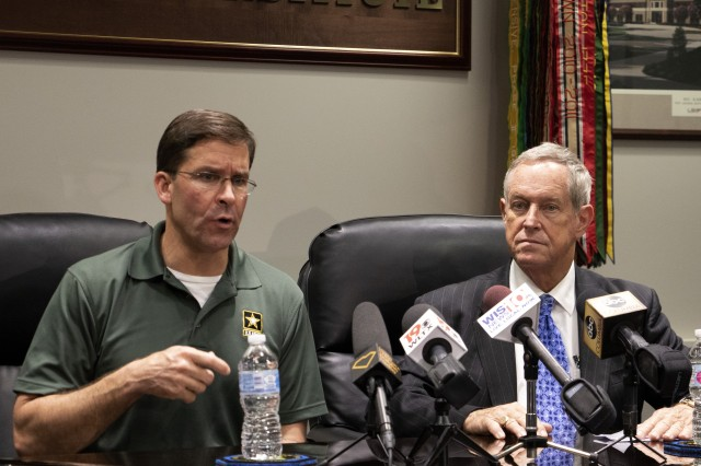 Secretary of the Army Mark Esper and Congressman Joe Wilson hold a press conference at Fort Jackson's Soldier Support Institute May 21. Esper came to South Carolina to attend a Civilian Aid to the Secretary of the Army conference.