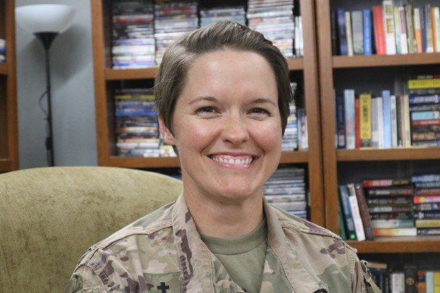 Capt. Amy Justice, 300th Sustainment Brigade chaplain, manages Holy Joe's, a resilency center at Camp Arifjan, Kuwait, May 20, 2019. (U.S. Army National Guard photo by Sgt. Connie Jones)
