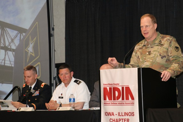 Maj. Gen. Duane Gamble, commanding general, ASC, provides a keynote speech on RIA's contributions to Army readiness during NDIA's 12th Annual Midwest Government Contracting Symposium, held at the TaxSlayer Center, Moline, Ill., May 22-23. (Photo by Liz Glenn, ACC-RI Public Affairs)