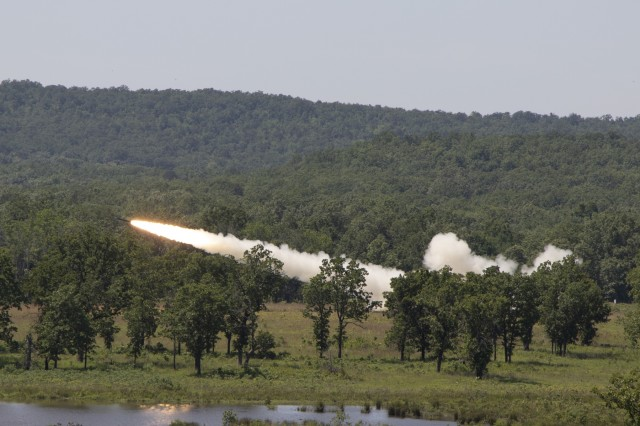 A rocket from an M270 Multiple Launch Rocket System flies through the air on the way to its target during the 142nd Field Artillery Brigade's Annual Training, May 16, 2019 at Camp Shelby, MS. (U.S. Army photo by Sgt. Roger Houghton/177th Armored Brigade)