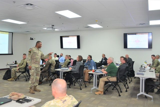 Maj. Gen. Patrick D. Sargent, the Health Readiness Center of Excellence Commander addresses attendees during the Strategic Medical Simulation Synchronization Summit hosted by HRCoE Directorate of Simulations, May 15 and 16.