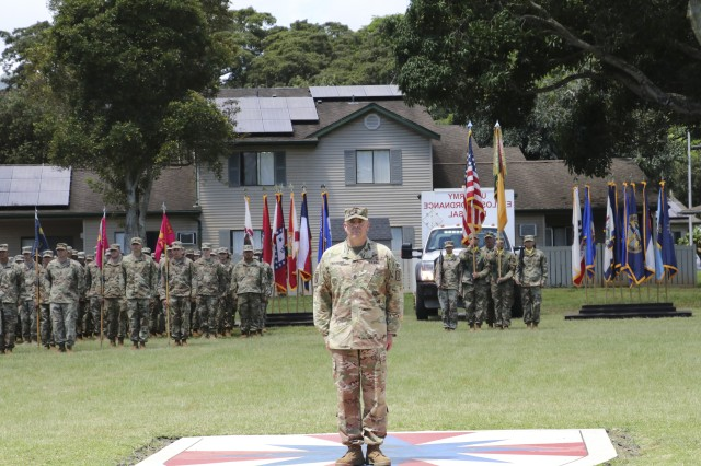 SCHOFIELD BARRACKS, Hawaii—Command Sgt. Maj. Mathew Selvaggio takes charge of his formation during the 8th Military Police Brigade Change of Responsibility Ceremony, March 23.