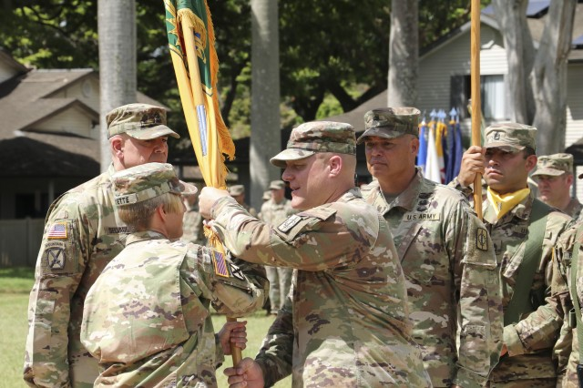 SCHOFIELD BARRACKS, Hawaii— 8th Military Police Brigade bid farewell to Command Sgt. Maj. William E. Mayfield, the outgoing 8th MP Bde command sergeant major, and welcomed Command Sgt Maj. Mathew J. Selvaggio as the new brigade command sergeant major, May 23, 2019 during a Change of Responsibility Ceremony.