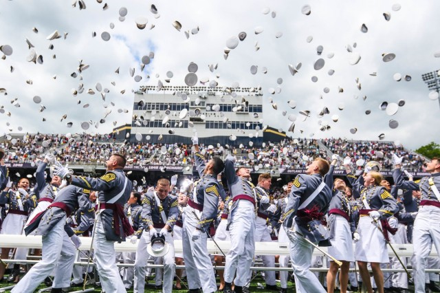 The U.S. Military Academy at West Point holds its graduation and commissioning ceremony for the Class of 2019 at Michie Stadium in West Point, N.Y., May 25, 2019. This year, 985 cadets graduated. Among them were 10 international cadets. The class includes 221 women, 110 African-Americans (32 are women; the most for any class in academy history), 79 Asian/Pacific Islanders, 88 Hispanics and seven Native Americans. There are 119 members who attended the U.S. Military Academy Preparatory School (98 men and 21 women). There are 60 class members who are prior service, 11 of those are combat veterans. In attendance were commencement speaker Vice President Mike Pence, Secretary of the Army Mark T. Esper and Chief of Staff of the Army Gen. Mark A. Milley. Each year, USMA graduates officers who are leaders of character committed to the values of duty, honor, country. (U.S. Army Photo by Brandon O'Connor)