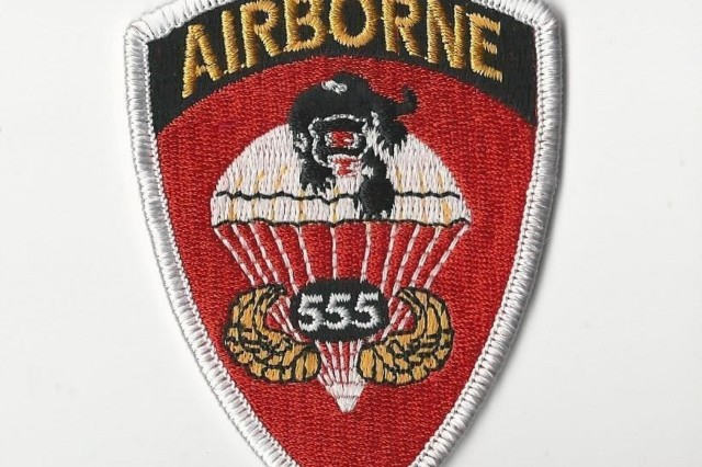 "The shoulder insignia of the 555th Parachute Infantry Regiment, known as the ""Triple Nickles.""  Courtesy Photo"