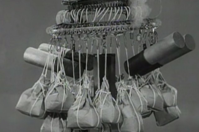 This screen grab from a Navy training film features an elaborate balloon bomb.