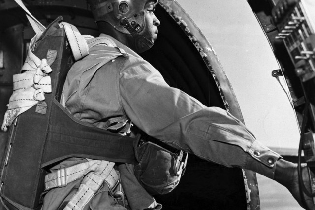 Triple Nickle member Jesse Mayes prepares to jump from a C-47.