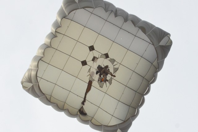 A paratrooper from Alpha Battery, 1st Battalion, 319th Airborne Field Artillery Regiment descend onto Fort Bragg's Normandy Drop zone after conducting a static-line airborne jump from an Air Force C-17 Wednesday, March 13th.  The Artillery paratroopers conducted the airborne operation to train for their hallmark mission of rapidly placing their artillery piece into operation and firing after conducting a static-line jump.