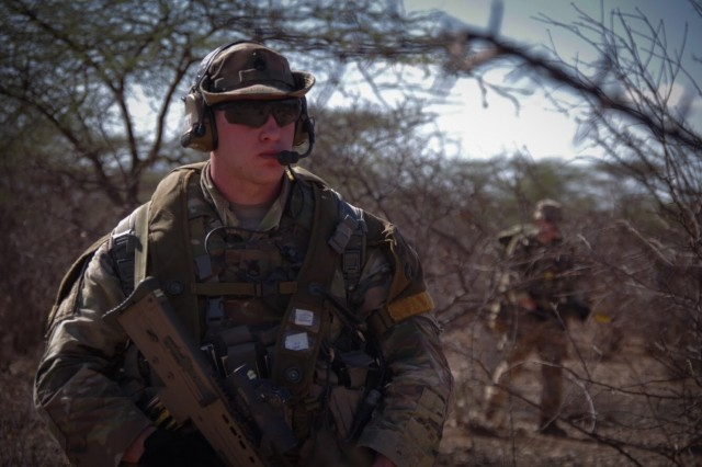 Paratroopers assigned to the 1st Battalion, 508th Parachute Infantry Regiment, 3rd Brigade Combat Team, 82nd Airborne Division patrol during a live-fire exercise alongside British paratroopers from 2 PARA. 16 Air Assault Brigade on November 16, 2018 in Kenya Africa as part of Operation Askari Storm.   Askari Storm is an international partner training operation occurring in Kenya, Africa between elements of the U.S.' 82nd Airborne Division and the British 16 Air Assault Brigade designed to improve the readiness and interoperability of the participating forces as they conduct live-fire scenarios and exchange best tactical and maneuver practices.