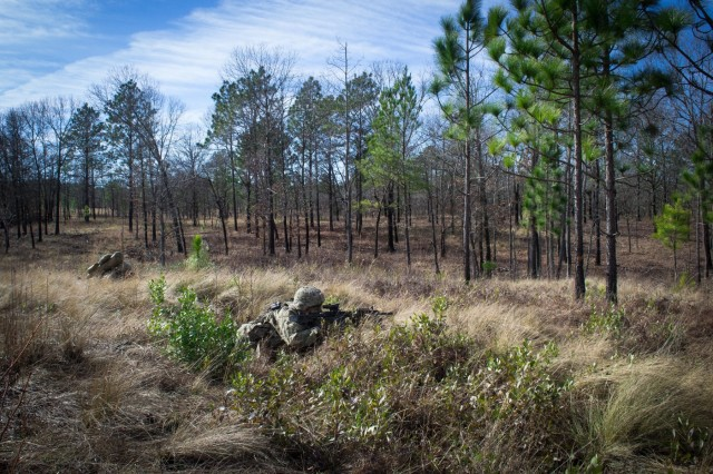 Paratroopers from Company C, 2nd Battalion, 505th Parachute Infantry Regiment, 3rd Brigade Combat Team, 82nd Airborne Division engage a simulated enemy bunker during the Company's live-fire exercise conducted Sunday, February 24 on Fort Bragg, North Carolina.