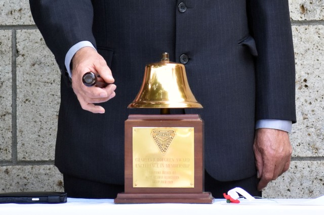 Members of the Fleet Reserve Association, Branch 103, perform a Navy Two Bell Memorial Ceremony during the Veterans of Foreign Wars of the U.S. Department of Pacific Areas, District 2 Mainland Japan Memorial Day Observance 2019 at the Yokohama War Cemetery in the Hodogaya Ward of Yokohama, Japan, May 26.