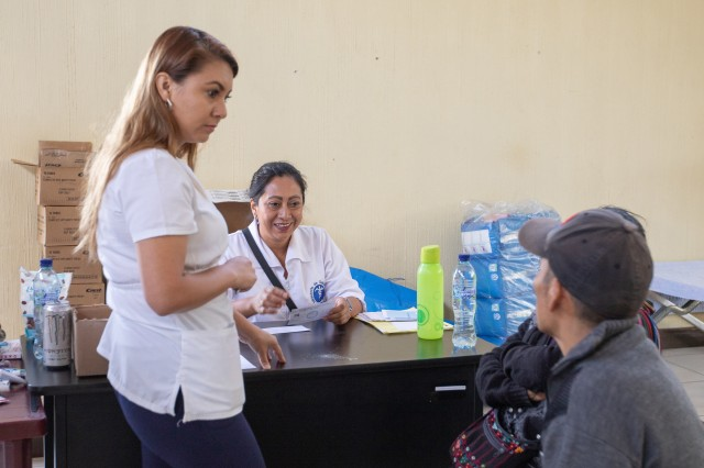 A Guatemalan Ministry of Public Health nurse writes referrals for patients during a medical readiness training exercise during Beyond the Horizon, 2019. Guatemala Ministry of Public Health, U.S. Forces, Florida International University non-governmental organization, Guatemala Ministry of Social Services and Guatemalan forces provided medical, dental and pharmaceutical care to more than 3,700 San Sebastián residents at the Beyond the Horizon 2019 medical readiness training exercise May 20-24, 2019. Beyond the Horizon is an annual exercise designed to build partner nation capacity for civil and military response to major disasters and the relationships built and sustained through this exercise demonstrate the ability of the U.S., and regional partners, to access and execute disaster relief activities throughout Central America.