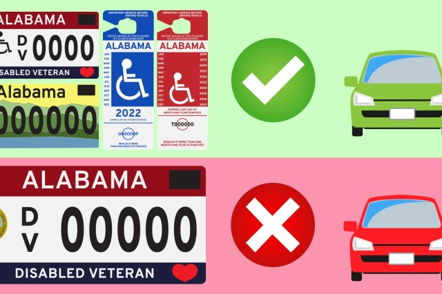 According to Alabama state law, people must have a disabled parking license plate, a wheelchair symbol added to their Disabled Veteran license plate, or a placard hanging from their rearview mirror in order to park in handicapped parking spaces.