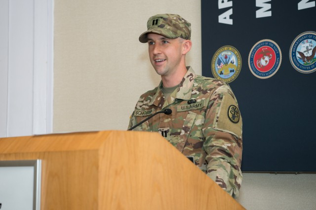 Incoming APHC HHC commander Capt. Zachary Schroeder speaks during APHC's HHC Change of Command Ceremony April 9.