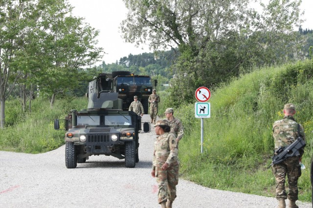 A convoy of Soldiers from the 5th Battalion 7th Air Defense Artillery Regiment arrives in Koper, Slovenia from Germany May 28, 2019 to begin preparations for the exercise Astral Knight 19. AK 19 is a multinational combined exercise designed to test integrated air and missile defense capabilities. U.S. Army photo by Sgt. Erica Earl