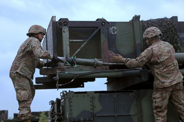 U.S. Soldiers from the 5th Battalion 7th Air Defense Artillery Regiment set up the Patriot missile defense system as they prepare to kick off exercise Astral Knight 19 in Koper, Slovenia May 28 2019. AK 19 is a multinational combined exercise designed to test integrated air and missile defense capabilities. U.S. Army photo by Sgt. Erica Earl