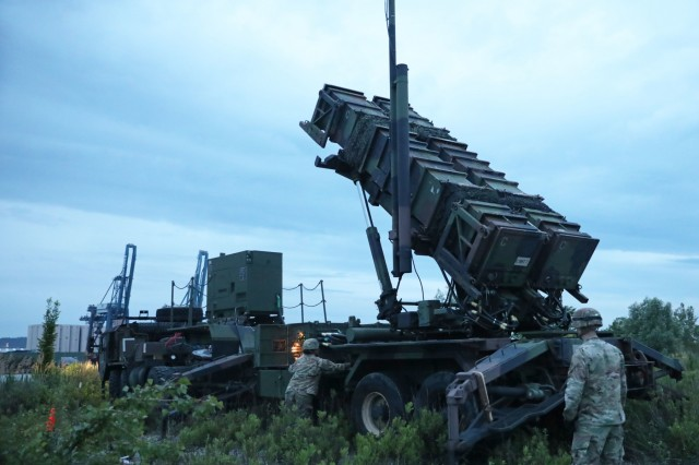 U.S. Soldiers from the 5th Battalion 7th Air Defense Artillery Regiment set the Patriot missile defense system in place to get ready for the exercise Astral Knight 19 in Koper, Slovenia May 28 2019. AK 19 is a multinational combined exercise designed to test integrated air and missile defense capabilities. U.S. Army photo by Sgt. Erica Earl