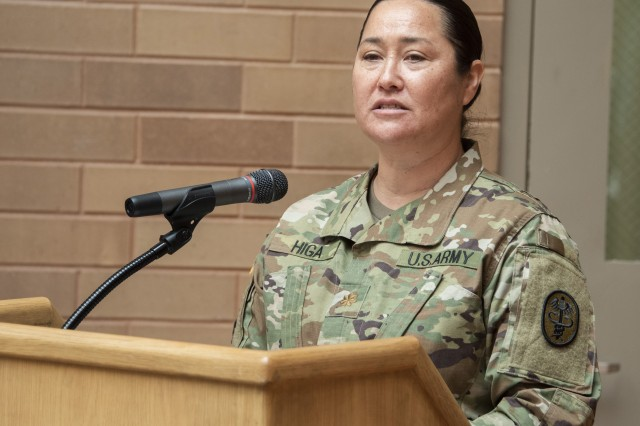 U.S. Army Maj. Jessica Higa, neuropsychology fellow, talks about diversity at the Asian American Pacific Islander Heritage Month observance at Brooke Army Medical Center, Fort Sam Houston, Texas, May 23, 2019. Higa is a native of Laguna Beach, Calif. and Kapa'a, Hawaii.