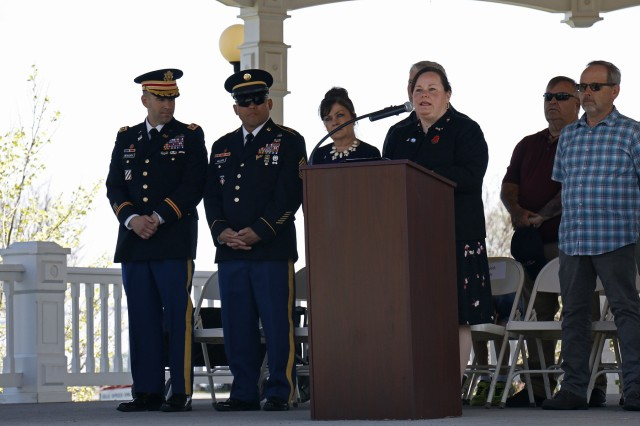 Molly Reilly (center), Sackets Harbor mayor, speaks to her village during the village's annual Memorial Honors, hosted by American Legion Post 1757, May 27, 2019, in Sackets Harbor, New York. The ceremony began immediately following a parade featuring students, veterans, community members and leaders of the 41st Engineer Battalion, 2nd Brigade Combat Team, 10th Mountain Division. American Legion members gave the local U.S. Coast Guard a wreath to place in the Black River Bay during the ceremony and performed a 21-gun salute. A local student of Sackets Harbor Central School concluded the ceremony by playing Taps on a trumpet. (U.S. Army photo by Staff Sgt. Paige Behringer)
