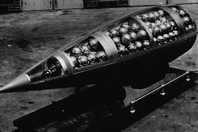 The Honest John rocket was capable of carrying a high-explosive warhead, a cluster bomb, or an atomic device.
