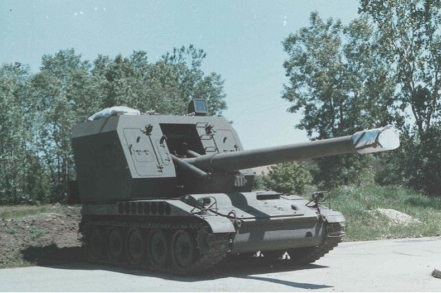 The M55 was the standard motorized howitzer used by the Army during the 1950s and early 1960s.