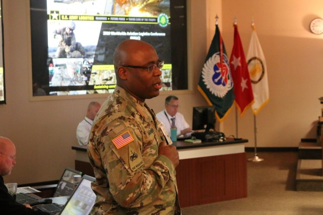 Lt. Col. James Barber, the Army's G-4 Aviation Logistics Division Chief, addresses the 2019 Worldwide Aviation Logistics Conference attendees held at the U.S. Army Aviation and Missile Command Headquarters in Huntsville May 21-23.