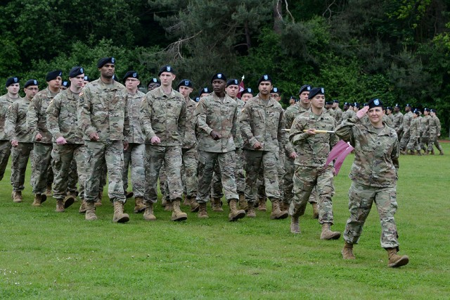 U.S. Army Lt. Col. Elizabeth Gum, commander of the U.S. Army Health Clinic Baumholder, renders a salute as the formation of her Soldiers march past the official party during the LRMC change of command ceremony May 29. The Baumholder Clinic is one of six subordinate clinic commands to LRMC. (U.S. Army photo by Liz Paque)