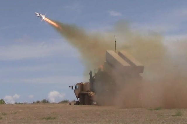 A Norwegian Naval Strike Missile is launched form a modified U.S. Army Heavy Expanded Mobility Tactical Truck during the 2018 Rim of the Pacific Exercise.