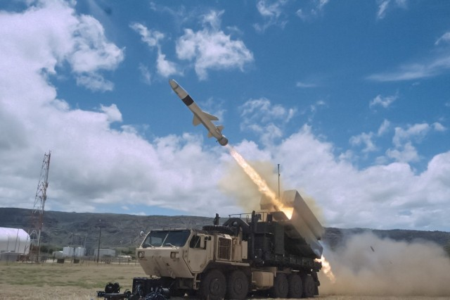 A Norwegian Naval Strike Missile is launched from a modified U.S. Army Heavy Expanded Mobility Tactical Truck during the 2018 Rim of the Pacific Exercise. The 2018 RIMPAC exercise was the first time a land-based unit participated in the live-fire event.