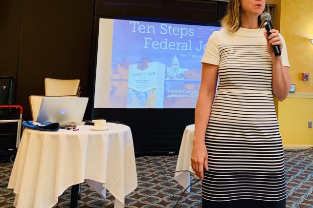 Emily Troutman was the speaker for the USA Jobs and Federal Resume Writing session. She broke myths about the two and provided the 10 steps to writing a federal resume.