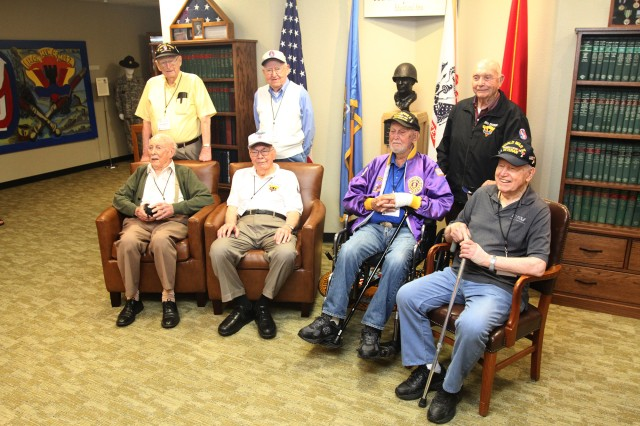 Seven of the Iron Men of Metz gather for a group photo May 17, 2019, at the 95th Infantry Division Memorial in the Armed Forces Reserve Center at Fort Sill, Okla. The division's legacy association held a reunion to honor the living and remember the servicemen who died in the fight to liberate Metz, France, during World War II.