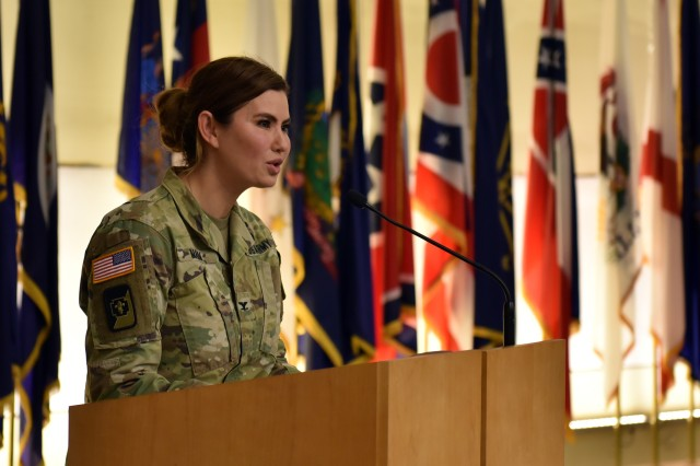 Col. Lynn Marm, Director of Logistics at the Office of the Army Surgeon General, provides the keynote speech at an Asian American and Pacific Islander heritage month celebration at Fort Detrick, Maryland, May 22.