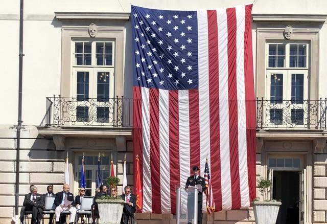 Maj. Gen. Daniel Mitchell, TACOM commanding general, delivers a Memorial Day speech at Grosse Pointe War Memorial.