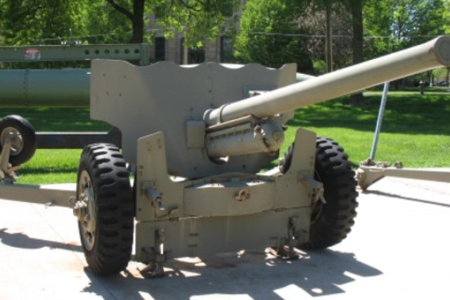 The M1 anti-tank gun, shown at Memorial Field, was capable of firing armor-piercing and incendiary rounds.