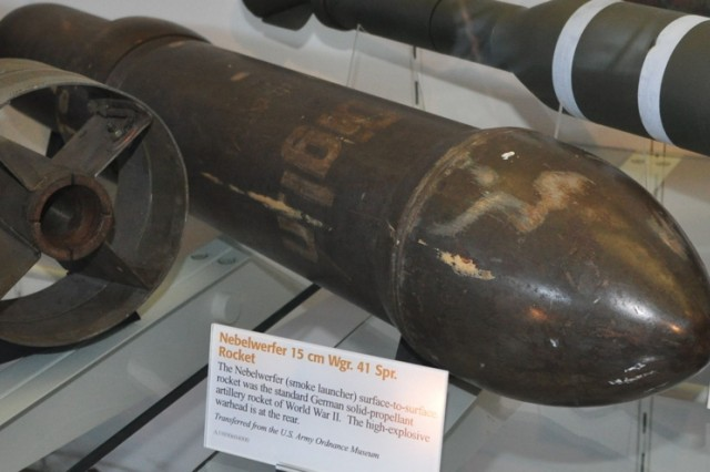 The Nebelwerfer was capable of firing this high-explosive warhead, at a rate of six rounds every 90 seconds