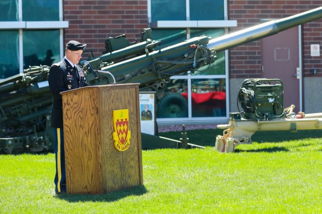 U.S. Army Lt. Col. Aaron Thomas, commander for 2nd Battalion, 77th Field Artillery Regiment, 2nd Infantry Brigade Combat Team, 4th Infantry Division, talks about Sgt. Elijah Rao, a fallen Soldier from the battalion, May 24, 2019, during a memorial ceremony on Fort Carson, Colorado. Rao was killed during an improvised explosive device attack in Afghanistan on Dec. 5, 2009. (U.S. Army photo by Staff Sgt. Neysa Canfield)