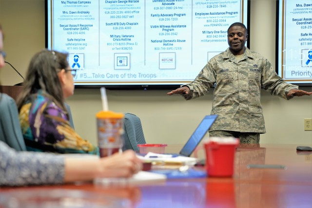 Master Sgt. Seth Miller, Community Support superintendent, 375th Air Mobility Wing, Scott AFB, Illinois, served as one of the presenters during the U.S. Transportation Command-sponsored resiliency seminar, May 21, 2019.  A certified master resilience trainer, Miller discussed persevering through big and small adversities.