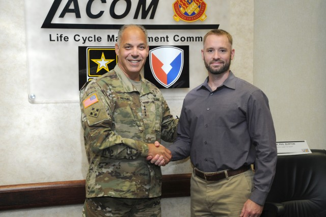 Gen. Perna, the commanding general of Army Materiel Command, took the opportunity on May 30, 2019 to recognize some of the outstanding members of the Detroit Arsenal, Mich. workforce from TACOM Integrated Logistics Support Center directorates. Brandon Colvin from Business Management Directorate, Robert McGuire from Logistics Support Operations Directorate, Michelle Maher from Ground Combat Systems Directorate, and Todd Thomas from the Ground Vehicle Support Center Directorate received recognition for their efforts to deliver Army readiness.