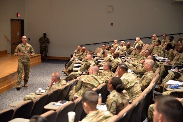 U.S. Army Reserve Chaplain (Capt.) Rob Wilkerson, 335th Signal Command (Theater), presents an overview of the Chaplain Led Assistance in Suicide Prevention program and a unit ministry smart tool he created. The program emphasizes that suicide prevention starts with spiritual resiliency. The CLASP program along with the UMT SMART tool equips unit ministry team members with tools and resources to get out in front of morale issues.  The presentation took place at the U.S. Army Intelligence and Security Command's (INSCOM) annual Unit Ministry Team (UMT) Training, Camp Dawson Event Center, Kingwood, West Virginia, April 29-May 3.