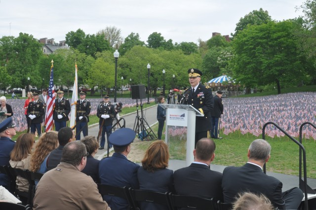 Brig. Gen. Vincent Malone reads the name of his friend and mentor Maj. Gen. Harold Greene during the Military Heroes Fund ceremony on Boston Common.