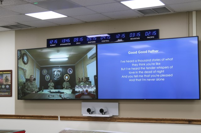 The Unit Ministry Team, 184th Sustainment Command, brings religious services to warfighters near and far using Video Teleconference technology during a recent church service at Camp Arifjan, Kuwait, May 26, 2019. (U.S. Army National Guard photo by Staff Sgt. Veronica Mcnabb)
