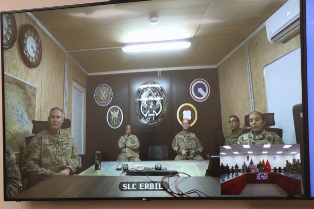 The 184th Sustainment Command's unit ministry team brings religious services to warfighters near and far using video teleconference technology during a service at Camp Arifjan, Kuwait, May 26, 2019. (U.S. Army National Guard photo by Staff Sgt. Veronica Mcnabb)