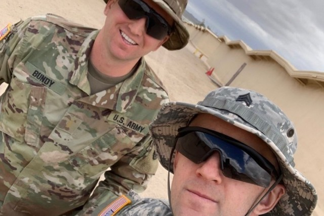 Idaho Army National Guard 2nd Lt. Zane Bundy and Sgt. Nathan Bundy pose for a selfie while training together at the National Training Center in Fort Irwin, California May 29, 2019. The brothers, from Mountain Home, Idaho, both serve in the 116th Cavalry Brigade Combat Team's 2nd Battalion, 116th Cavalry Regiment.