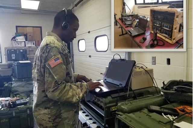 In the wake of Hurricane Florence, a Soldier from the North Carolina Army National Guard 113th Sustainment Brigade provides dispatch services for incoming calls using the unit's Disaster Incident Response Emergency Communications Terminal (DIRECT), in Kinston in September 2018. The Kinston site was used to coordinate emergency response moving into areas around New Bern, North Carolina, which endured a catastrophic storm surge.