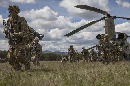 Paratroopers with 503rd Infantry Regiment, 173rd Airborne Brigade, sprints off a Boeing CH-47 Chinook to gain 360 security during cold load training at Vojarna Josip Jovic airbase Udbina, Croatia, May 17, 2019. Exercise Immediate Response is a multinational exercise co-led by Croatian Armed Forces, Slovenian Armed Forces, and U.S. Army Europe.