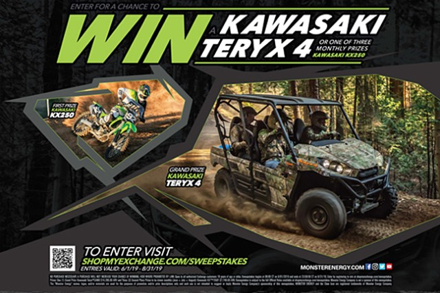 Military shoppers can rev it up this summer with a chance to win one of four vehicles worth $37,546 courtesy of Kawasaki, Monster Energy and the Army & Air Force Exchange Service.