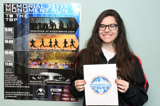 Brooke Dorazio, a South Jefferson High School senior, was named winner of the 2019 Memorial to Monument Run T-shirt Design Contest at Fort Drum, New York. The run, scheduled for Sept. 14, is in its second year and is hosted by Fort Drum Family and Morale, Welfare and Recreation, in partnership with the city of Watertown. (Photo by Mike Strasser, Fort Drum Garrison Public Affairs)