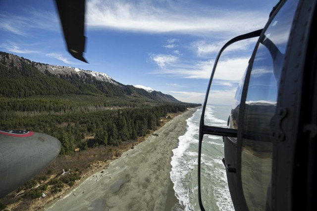 U.S. Army Chief Warrant Officer 3, Jeshua McMaster, instructor pilot, and 2nd Lt. Rayanna Reffitt, 2nd platoon leader, Alpha Company, 1st Battalion, 207th Aviation Regiment, Alaska Army National Guard, fly along the coast from Anchorage to Juneau, Alaska, April 26, 2019. Soldiers with the Alaska National Guard from 1-207th conduct cross-country training flights during their final annual training as an air assault unit ahead of their pending transition to becoming a part of a larger general aviation support battalion, expected to finalize this year.