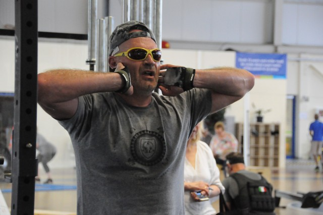 To pay tribute to Navy SEAL Lt. Michael P. Murphy, Benelux community members, including Fabien Henry (pictured), participated in the Murph Challenge June 2, 2019, at the Chievres Fitness Center on Chievres Air Base, Belgium. The challenge included an intense workout of running, push-ups, pullups and squats performed through CrossFit training techniques.